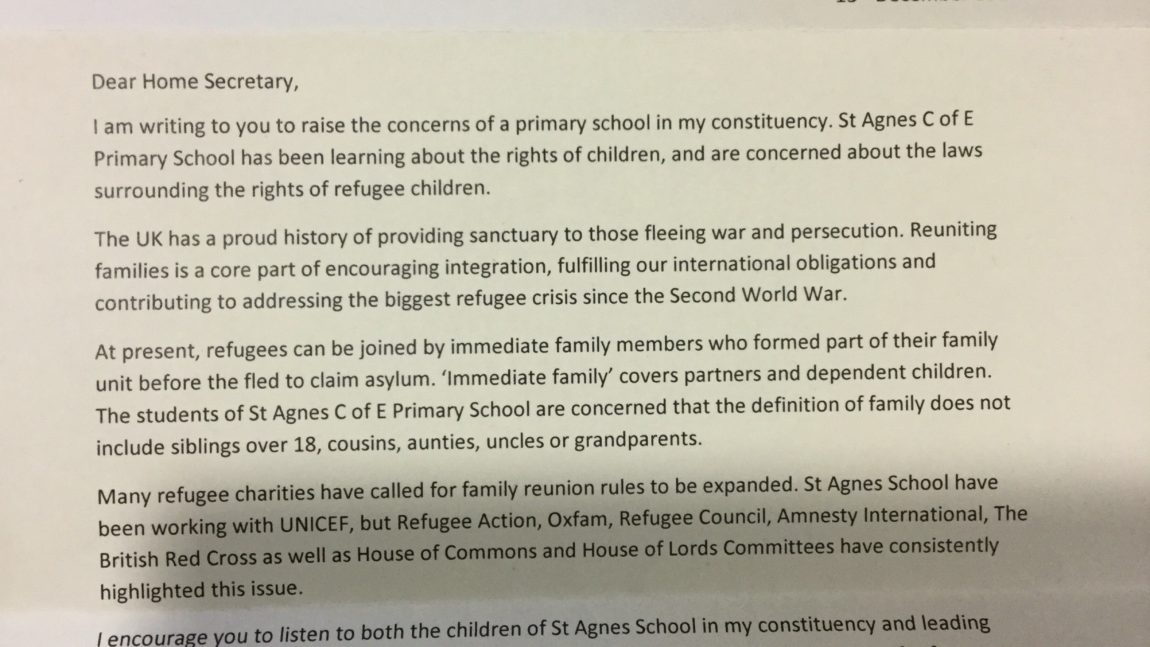 Letter to the Home Secretary to change the laws surrounding refugees